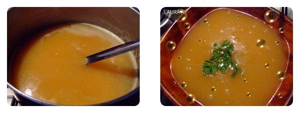 Supa crema de dovlecei si morcovi in farfurie