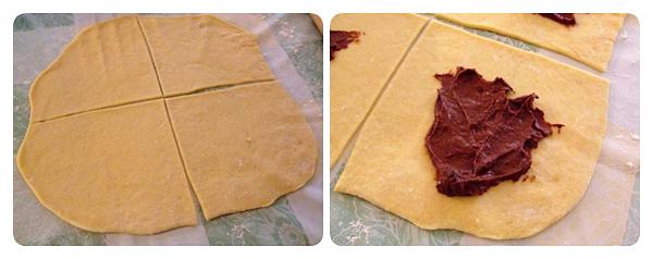 Cornuri pufoase cu ciocolata - aluat intins si taiat