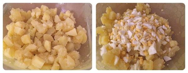 Salata de cartofi - cubulete de cartofi