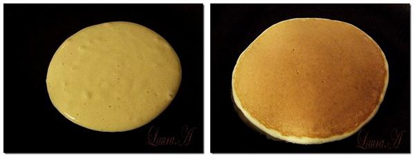 American pancakes - pancakes prajite in tigaie teflonata
