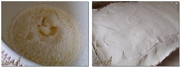 Strat de frisca peste crema de vanilie