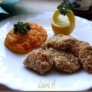 Gurite de pui cu susan si piure de morcovi