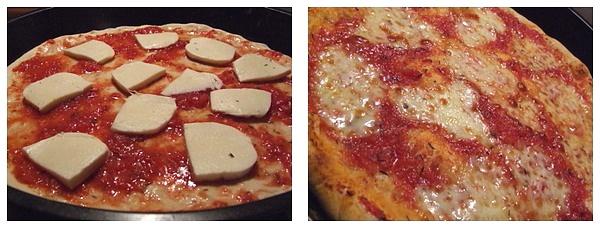 Pizza Margherita inainte si dupa coacere