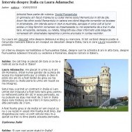 Interviu despre Italia cu Laura Adamache