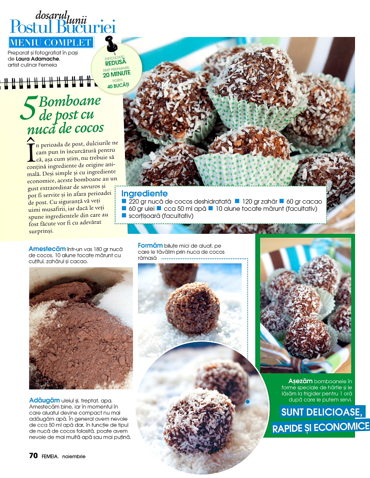 Reteta culinara de bomboane de post cu nuca de cocos