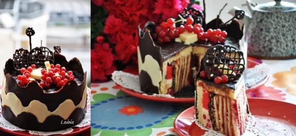 Tort de ciocolata cu crema de vanilie si coacaze rosii - Lavinia Cristea