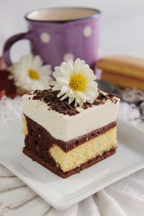 Prajitura cu mousse de ciocolata alba si vanilie - Reteta propusa de Dianu Andreea