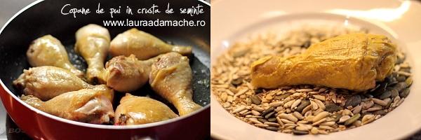 Copane de pui in crusta de seminte preparare