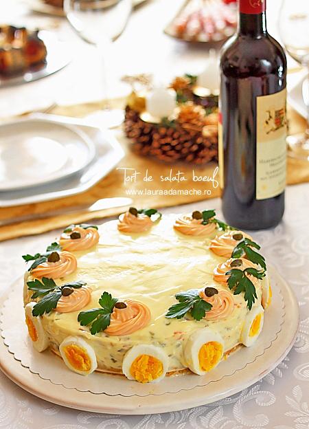 Tort de salata boeuf detaliu final