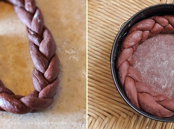 Pasca cu branza si ciocolata - aluat impletit