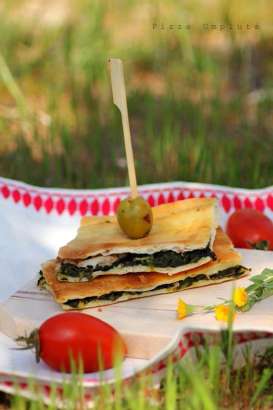 Pizza umpluta cu spanac - picnic