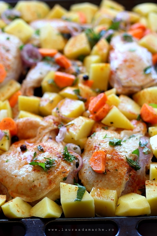 Pui cu cartofi la cuptor preparare