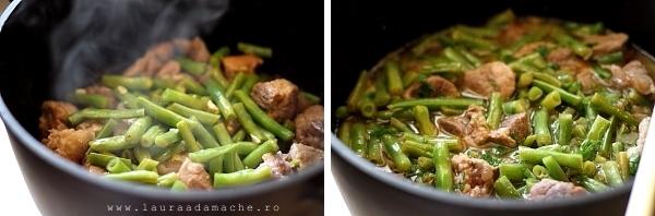 Fasole verde amestecata cu carne de porc