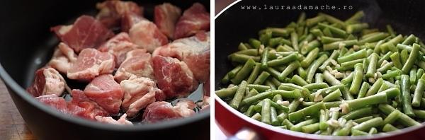 Carne de porc si fasole verde la calit
