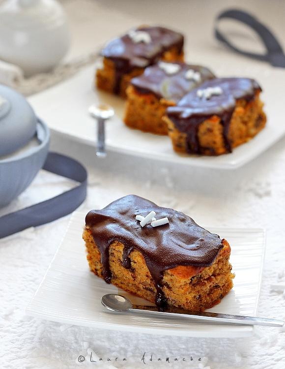 Prajitura cu dovleac si ciocolata - detaliu bucati de prajitura