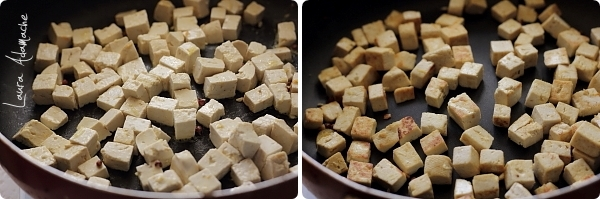 Salata calda cu tofu si ciuperci-tofu calit