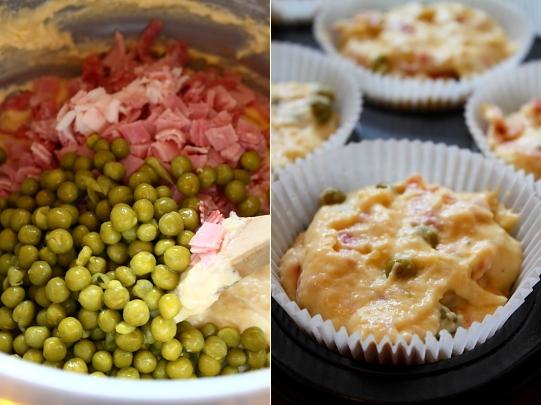 Muffins cu mazare si prosciutto preparare