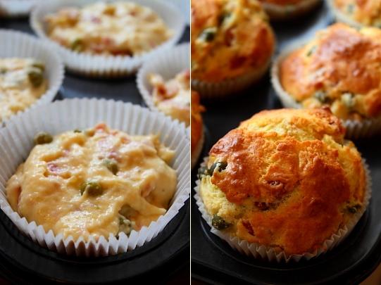 Muffins cu mazare si prosciutto - coacere