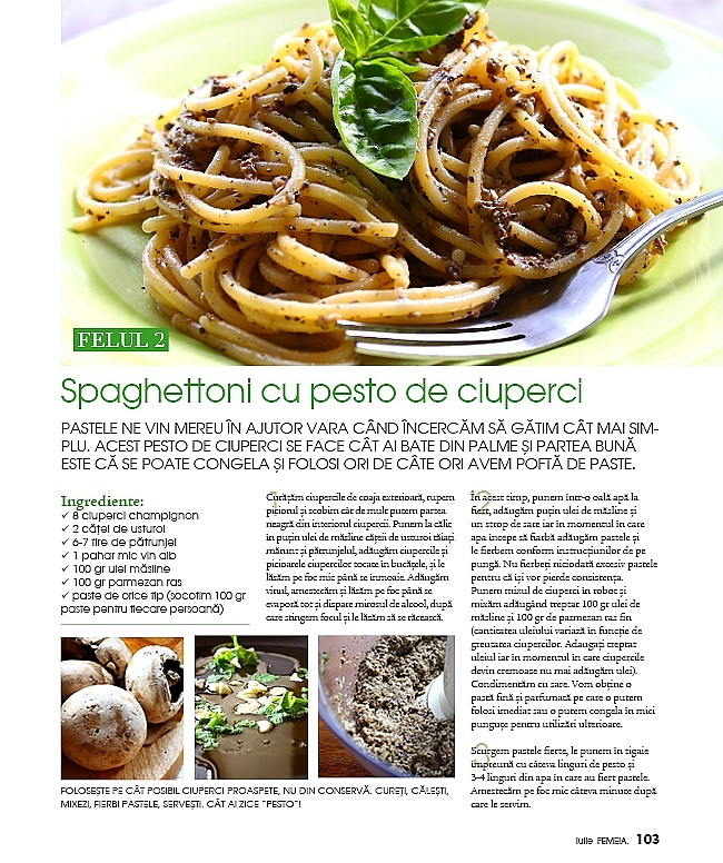 Reteta din revista Femeia, iulie, nr 7 (44) 2010