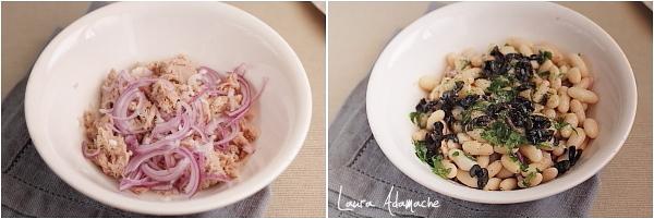 Preparare salata de fasole boabe, ton si ceapa rosie