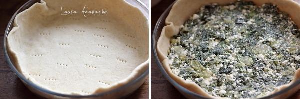 Tarta sarata cu salata si flori de dovlecel preparare