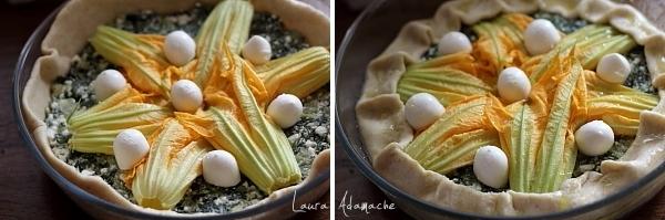 Tarta sarata cu salata si flori de dovlecel preparare tarta