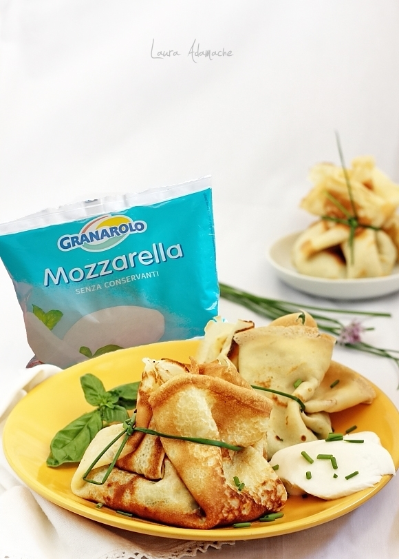 Clatite umplute cu spanac si mozzarella Granarolo detaliu