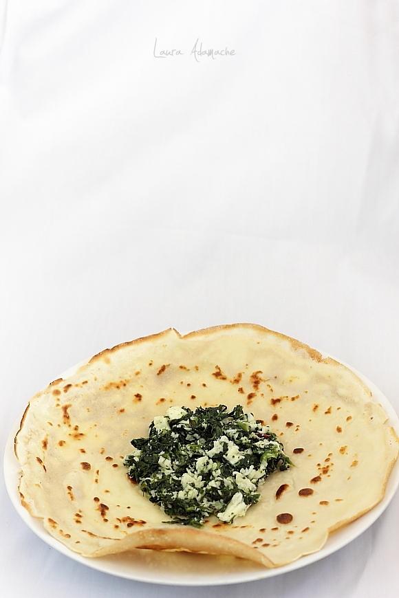 Clatite umplute cu spanac si mozzarella Granarolo - umplutura spanac