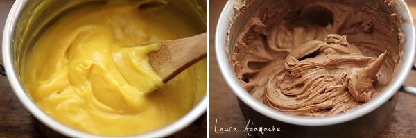 Preparare creme vanilie si ciocolata