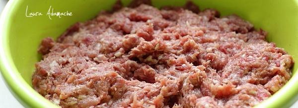 Amestec carne carnati detaliu