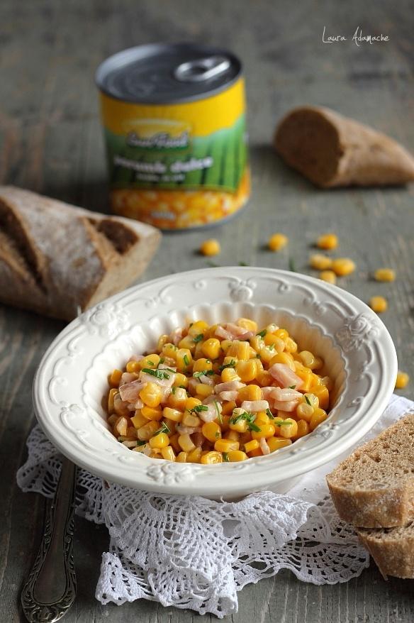 Salata calda de porumb Sunfood si sunca de pui