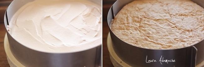 Tort cu crema caramel si crema de capsuni  asamblare