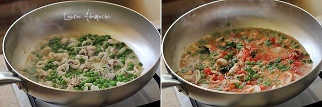 Preparare sos de rosii cu mazare si calamari