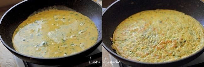Ciorba de salata verde - preparare omleta