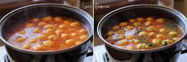 Supa mexicana de rosii cu galuste de malai, fierbere