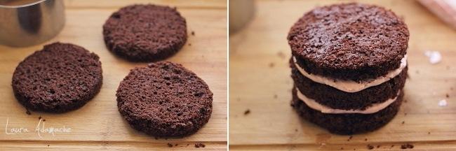 Mini tort cu crema de capsune detaliu asamblare