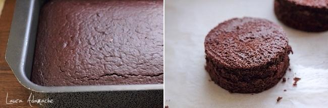 Mini tort cu crema de capsune detaliu preparare blat