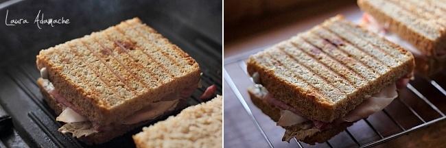 Sandwich cu porumb si sunca pe gratar