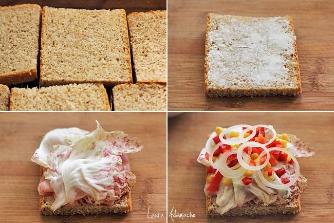 Sandwich cu porumb si sunca preparare
