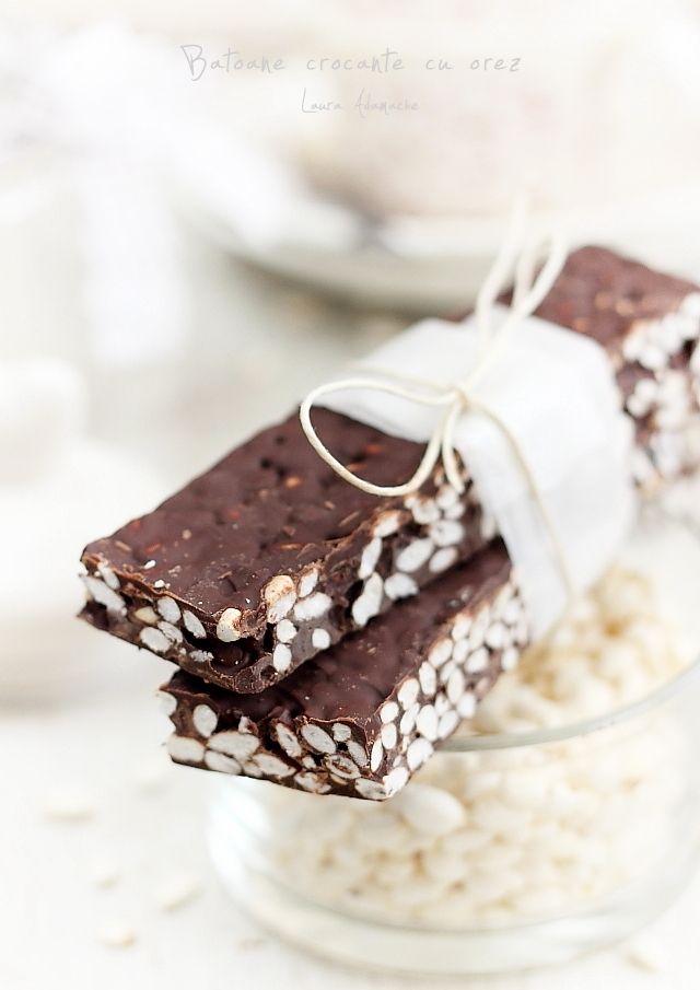 Batoane de ciocolata si orez expandat detaliu