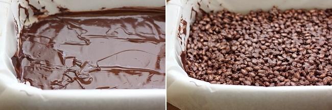 Batoane de ciocolata si orez expandat preparare