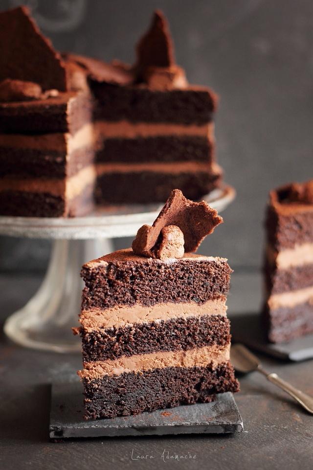 Tort rapid de ciocolata - felie