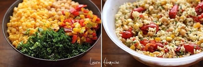 Salata de orez si legume preparare detaliu