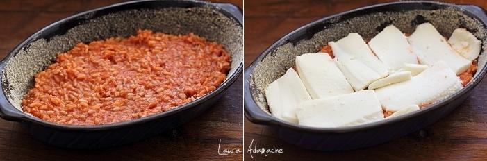 Orez gratinat cu mozzarella preparare
