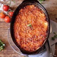 Orez gratinat cu mozzarella