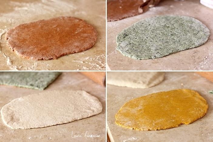 Paine in patru culori preparare aluaturi colorate