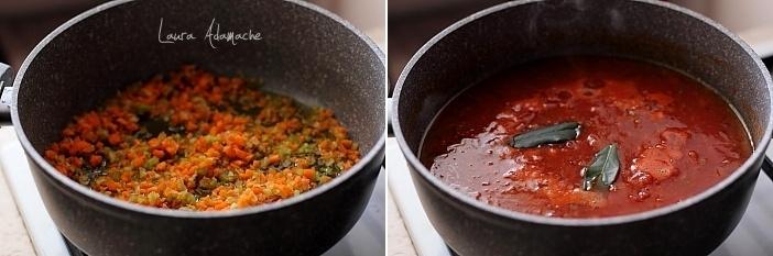Paste cu sos ragù cu ficat de pui preparare sos