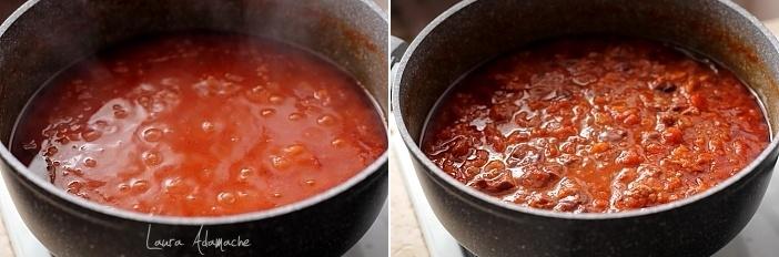 Paste cu sos ragù cu ficat de pui detaliu preparare sos