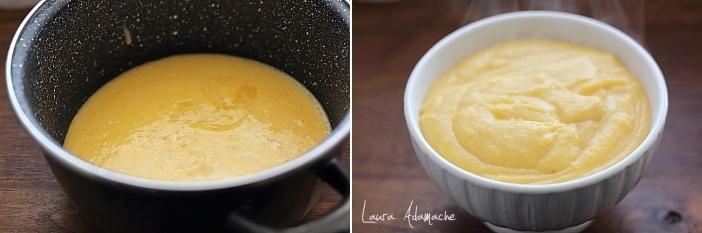 Cornuri pufoase umplute cu crema de piersici preparare crema