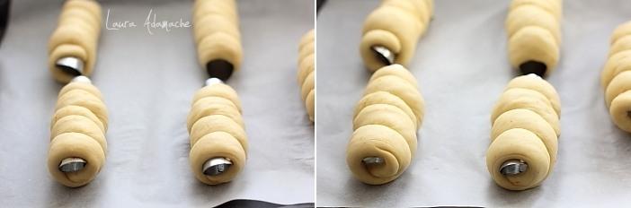 Cornuri pufoase umplute cu crema de piersici in tava
